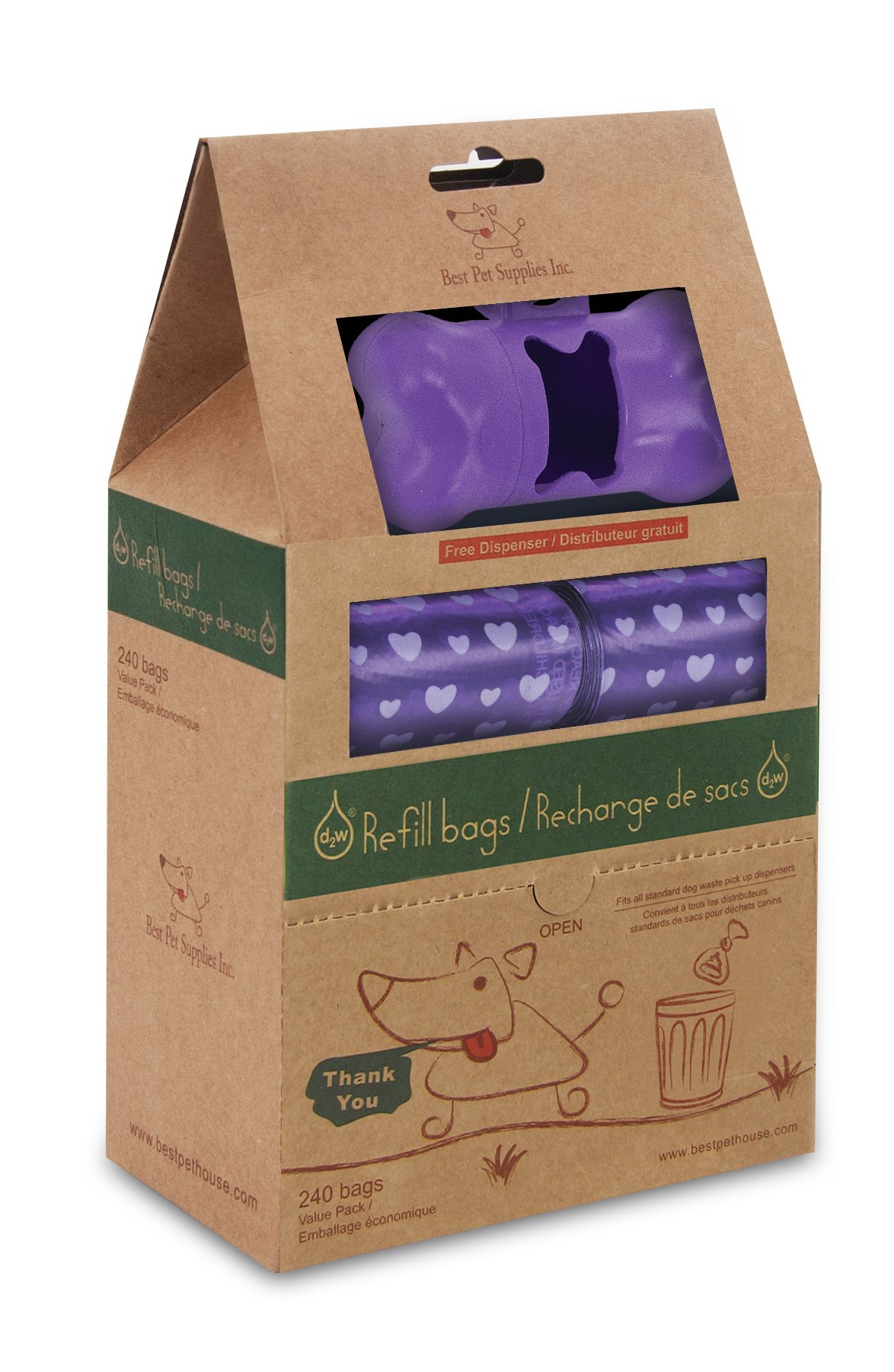 Good Habit by Best Pet Supplies - 15 Micron Thick Waste Poop Bags Refill Rolls with Dispenser - Light Scented, Purple Heart, 240 Bags