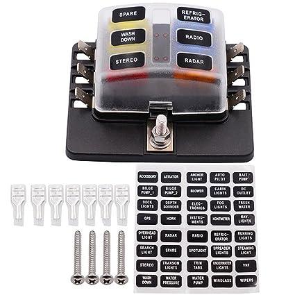 amazon com fuse block,6 way blade fuse box holder with led warning automotive fuse box tap fuse block,6 way blade fuse box holder with led warning light kit for automotive