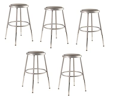 Amazon Com National Public Seating 6418h Cn Steel Stool With Vinyl Upholstered Seat Adjustable 19 27 Grey Pack Of 5 Industrial Scientific