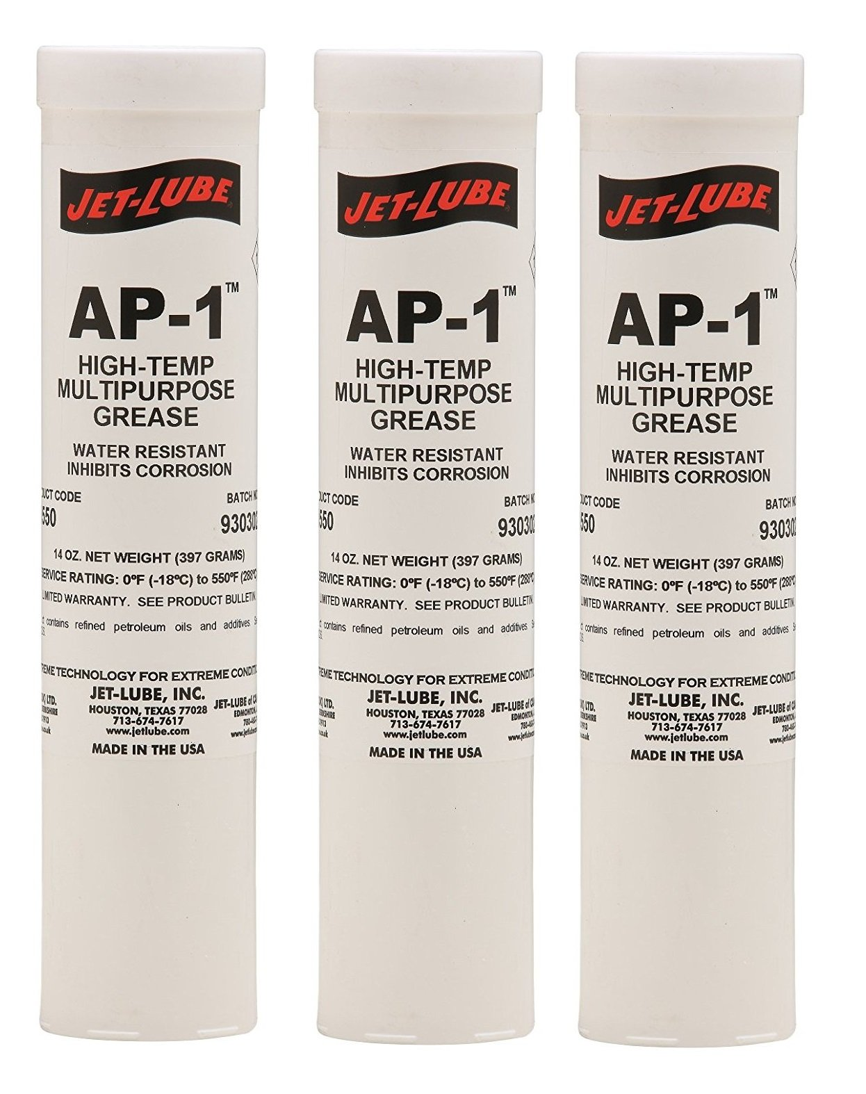 Jet-Lube 31550 AP-1 Non-Melt High Temperature Grease 0 to 550 degrees F 14 oz Cartridge, Amber by Jet-Lube_