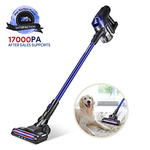 DEENKEE Cordless Vacuum Cleaner, 200W Brushless Motor with 17Kpa Powerful Suction LED Brush,HEPA Filtration for Car Cleaning and Carpet Hard Floor Pet Hair Dust Cleaning