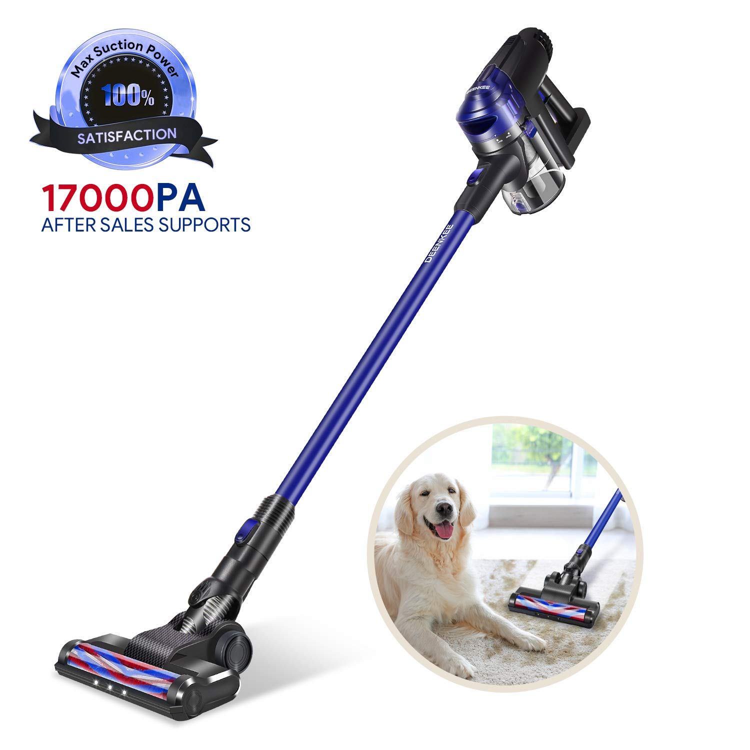 DEENKEE Cordless Vacuum Cleaner, 200W Brushless Motor with 17Kpa Powerful Suction & LED Brush,HEPA Filtration for Car Cleaning and Carpet Hard Floor Pet Hair Dust Cleaning