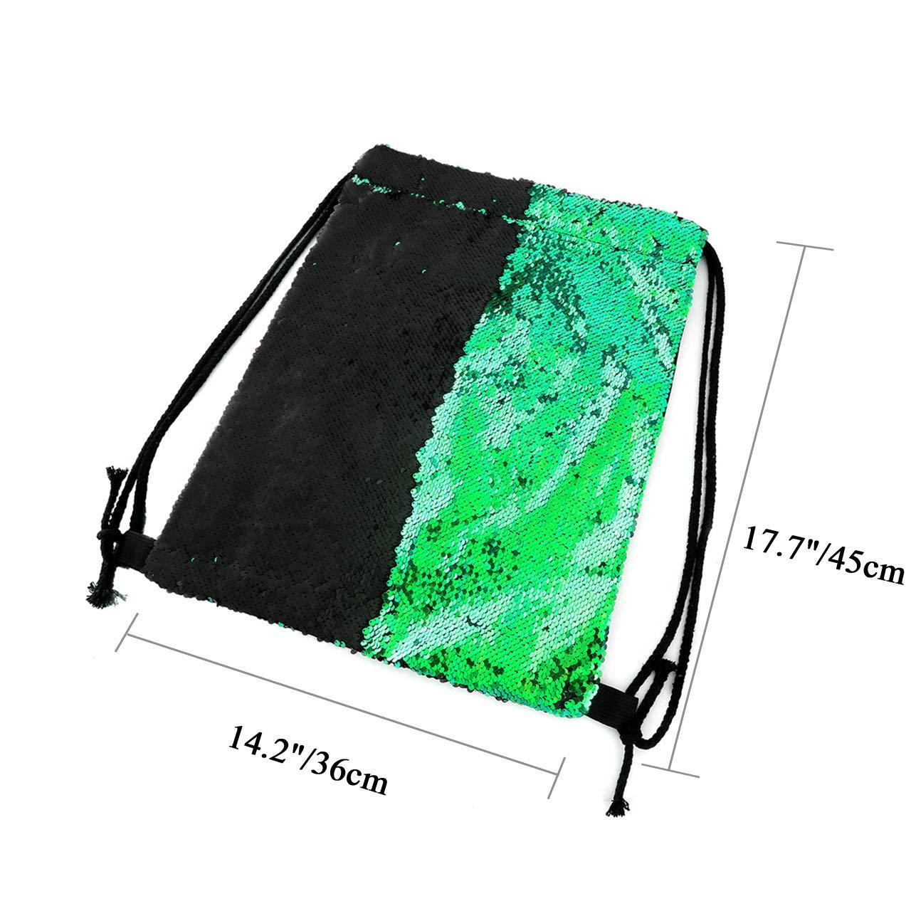 87be21cec494 Ayliss Sequin Cinch Sack Drawstring Backpack Reversible Glitter Paillette  String Bag for Women/Men/Girls (Green&Black)