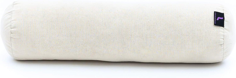 Kapok 55x15x15 cm Leewadee Cuscino Cervicale Set di 2 Piccolo Bolster Yoga 2 Pezzi Rotolo Pilates Prodotto Naturale Ecologico