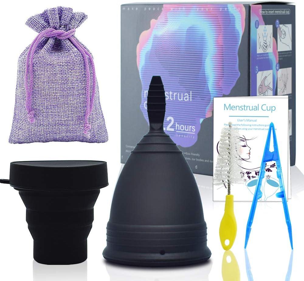 SPEQUIX Juego de vasos menstruales y vasos esterilizantes para mujeres, tazas de higiene menstrual con taza plegable de silicona
