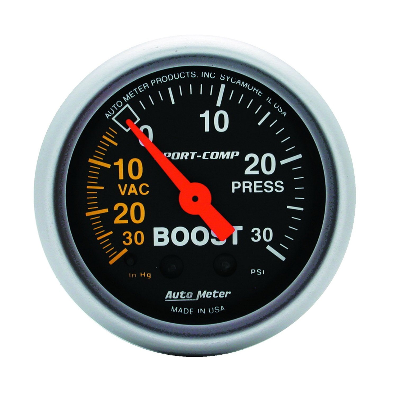 Auto Meter 3303 Sport-Comp Mechanical Boost/Vacuum Gauge by Auto Meter