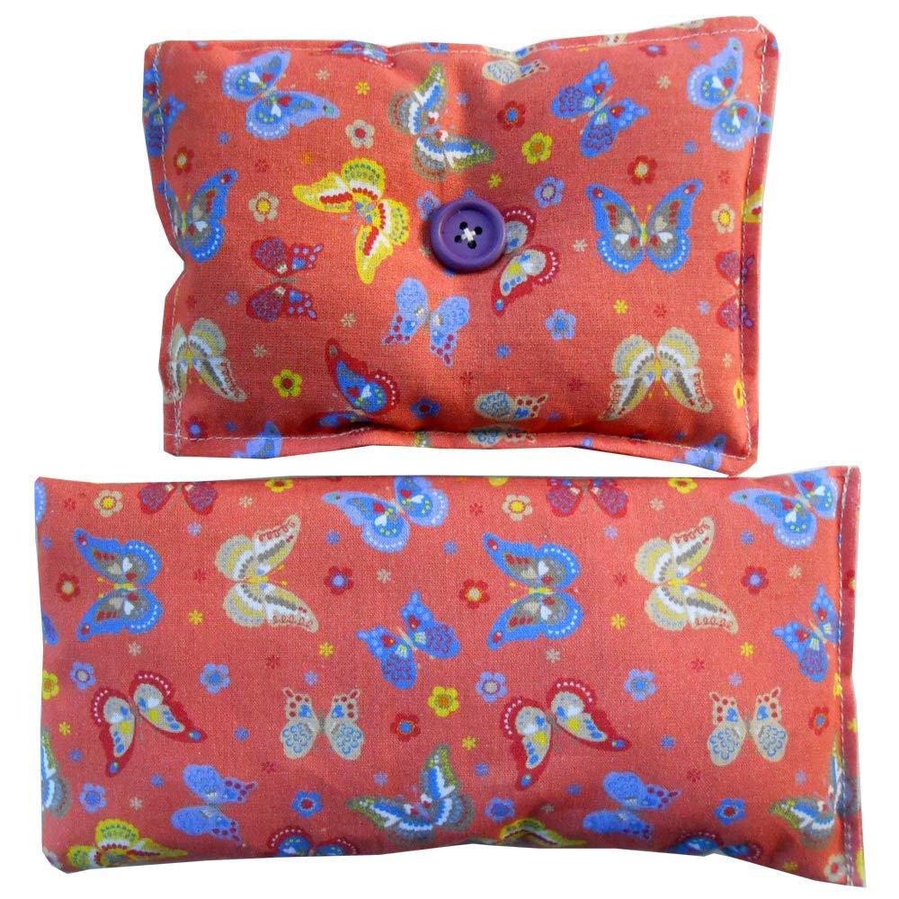 1 Cuscino per occhi 'Farfalle' + 1 Mini cuscino 'Dormi Bene' pieno di semi di lavanda bio - mettilo sotto al tuo cuscino o guanciale per conciliare il sonno, calmare i nervi e rilassarti
