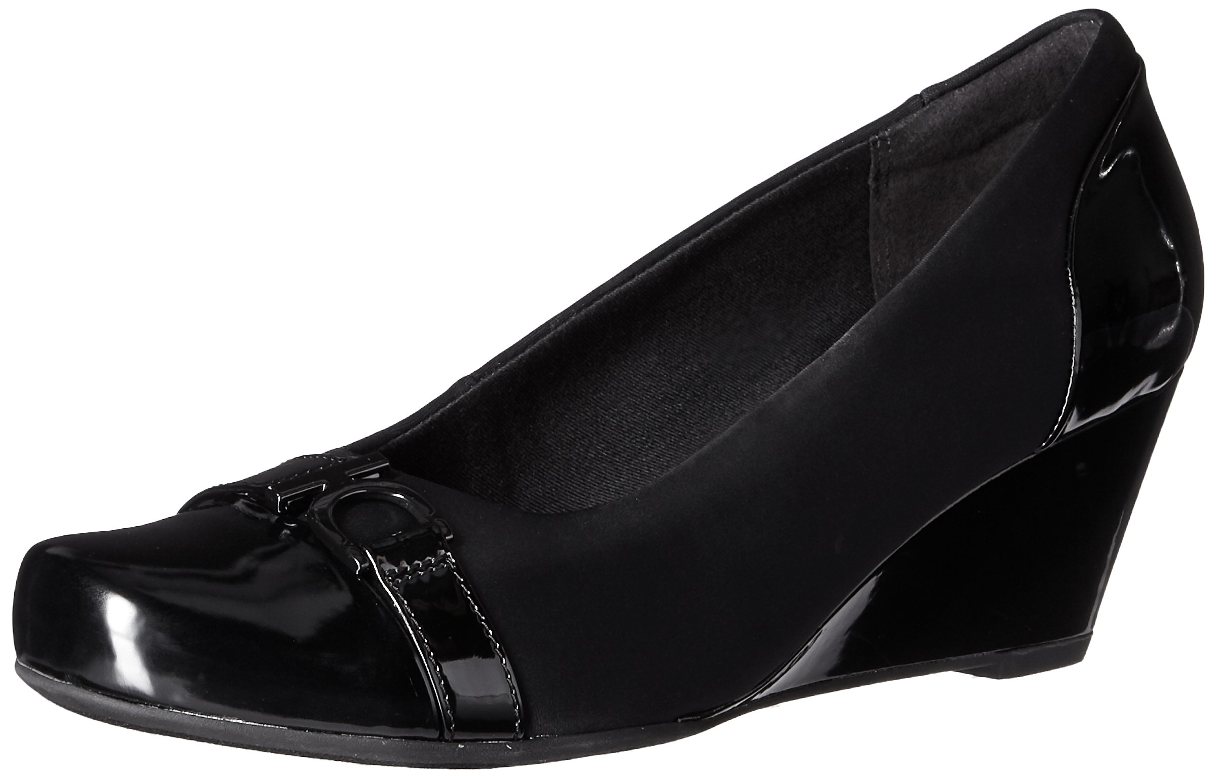 CLARKS Women's Flores Poppy Wedge Pump, Black Combi, 6.5 M US