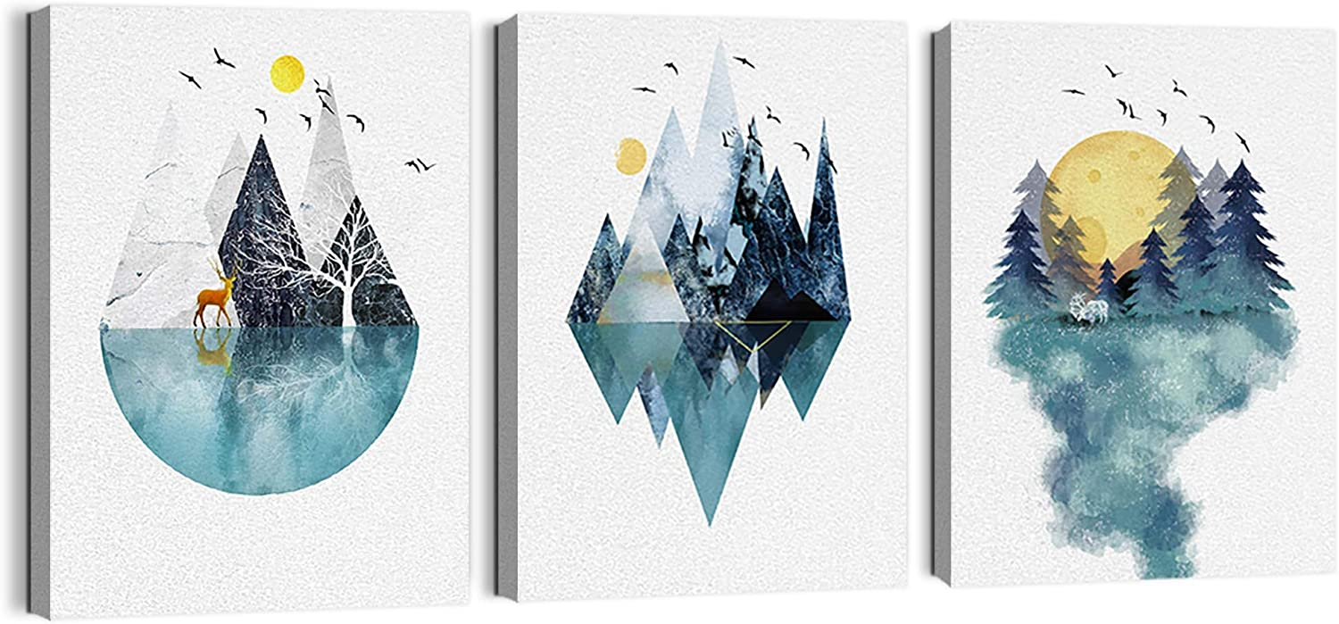 Abstract Mountain Wall Art for Living Room Geometric Mountains Theme Canvas Prints Wall Art for Bathroom Pictures Artwork Framed Wall Decor for Bedroom Decoration Modern Home Decor Size 12x16x3 Panels