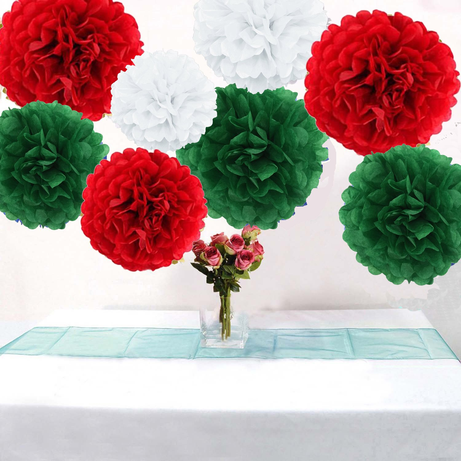 Christmas Decoration Set Gorgeous 18pcs Tissue Paper Flowers