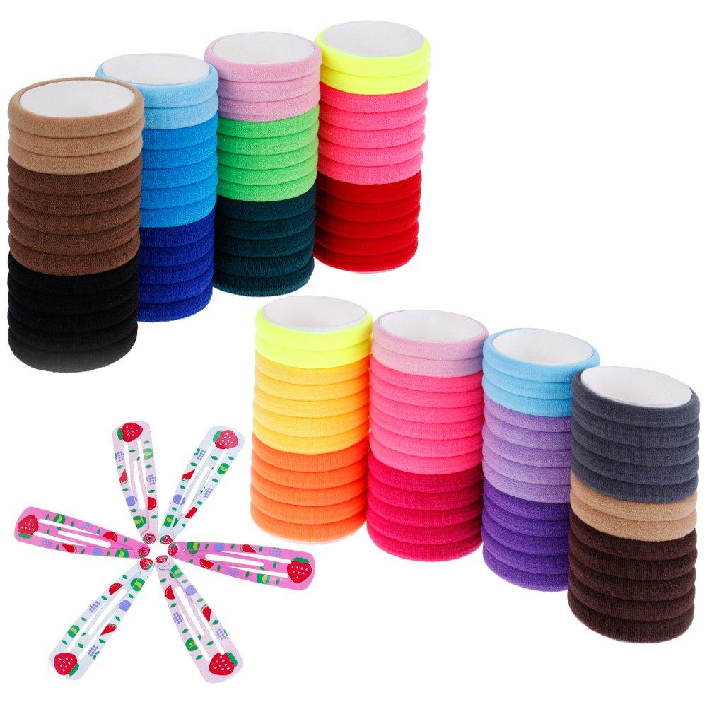 Lictin 100 psc Elastische Haargummis Bunte Haargummis Zubehör für Haarfrisuren für Frauen Mädchen mit 6 Haarspangen