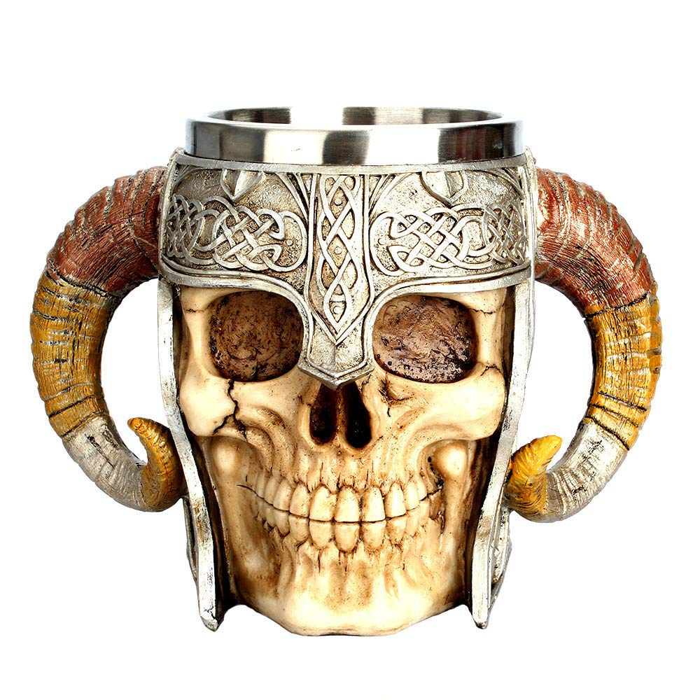 FunDiscount Viking Ram Horned Pit Lord Warrior Skull Coffee Mug, Double Handle Horn Skull Beer Cup Resin Striking Warrior Tankard Mug Medieval Skull Drinkware Bar Cup Norse Mythology Decor (Gold) by FunDiscount shop_Decorations