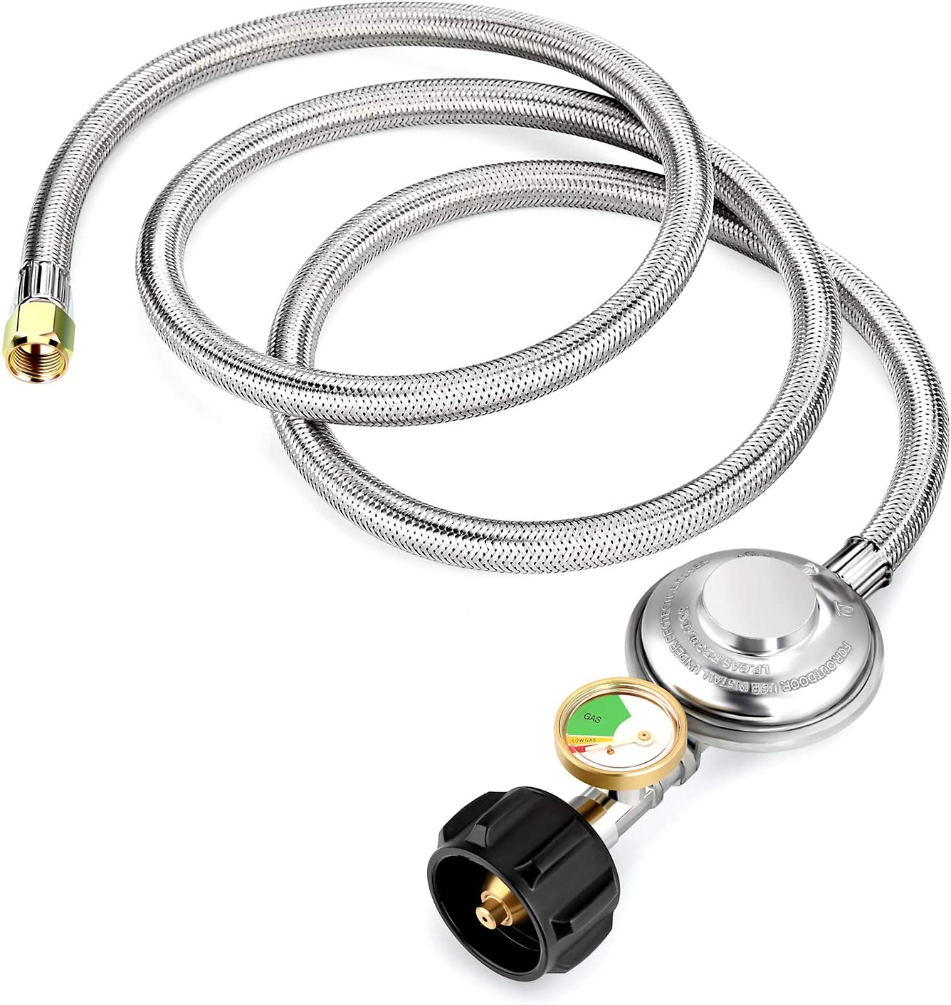 WADEO 5ft Stainless Braided Propane Regulator Hose with Gauge, Stainless Low Pressure Propane Regulator for Burner Stove, Gas Water Heater, Forced Air Heater, Smoker, Burner Stove, Fire Pit