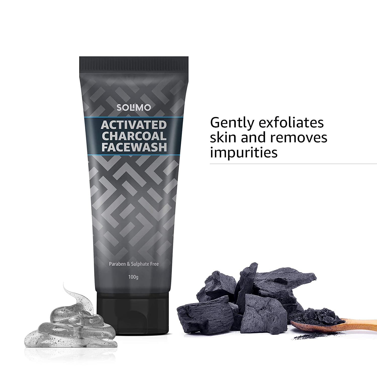Amazon Brand - Solimo Charcoal Facewash with Scrub