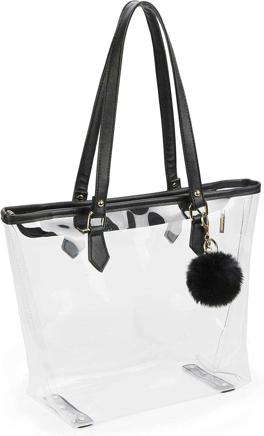 Large Clear Bag PVC Transparent Shoulder Handbag with Black Plush Pendant