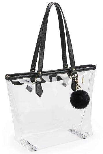 Large Clear Bag PVC Transparent Shoulder Handbag with Black Plush Pendant ( Black 2) d3a8f52132628