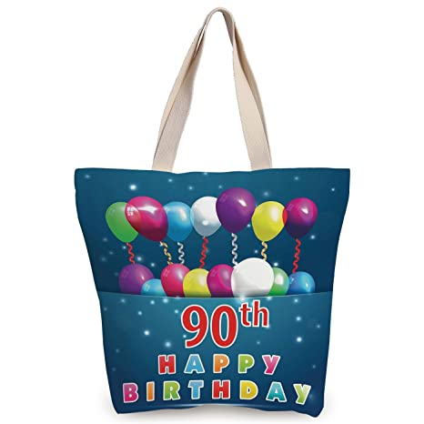 IPrint Fun Canvas Tote Bag90th Birthday DecorationsJoyful Surprise Party Mood Best Wishes