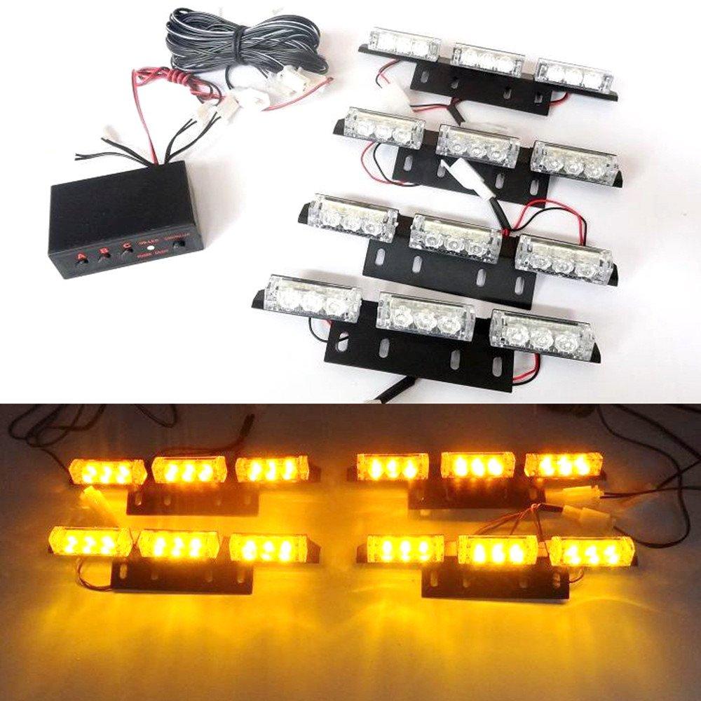 USUN 36 LED Bar Flashing Strobe Warning Car Vehicle Police Emergency Warning Lighting Grille / Windshield /Dash / Deck / Headliner Light (Amber)