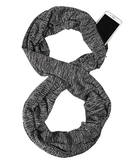 1fc3e47a80add Infinity Scarf Wrap with Secret Hidden Zipper Pocket,Best Travel Scarfs