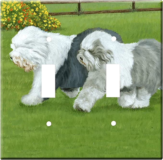Gone Doggin Old English Sheepdog 2a Double Toggle Light Switch Plate Metal Wall Plate Oes Dog Art Home Kitchen Amazon Com