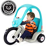 Simplay3 Kids Super Coupe Pedal Powered Ride-On Toy w/ Roof and 3-Position Seat