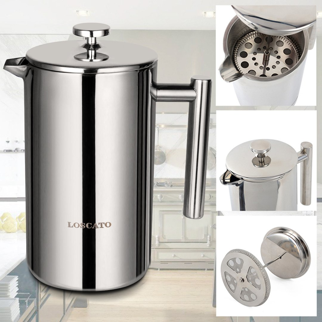 LOSCATO 34OZ Double Wall Stainless Steel French Press Coffee Maker (1L) by LOSCATO (Image #7)