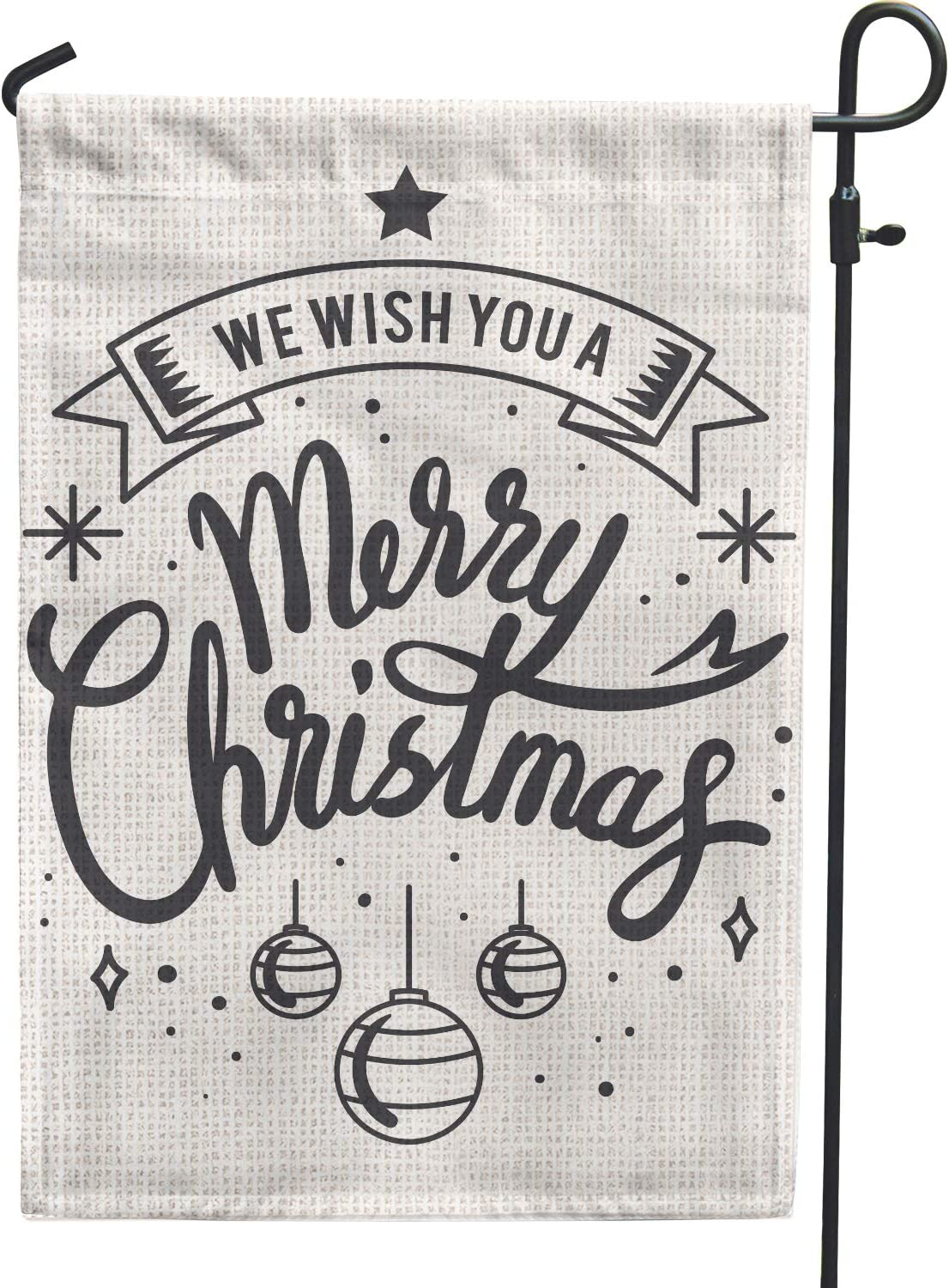 Hollyhorse We Wish You Merry Christmas Garden Flag - Black and White Hanging Happy Christmas Xmas Decoration Flag | 12.5 x18 Inch Double Sided Burlap Flag for Outdoor Outside Yard Decor