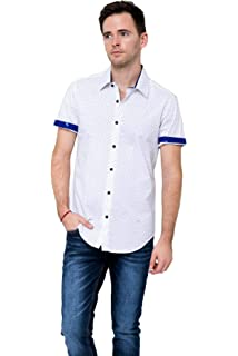 RNZ Mens Short Sleeve Shirts with Contrast Trimming and Geometric Prints T35 Black//Blue