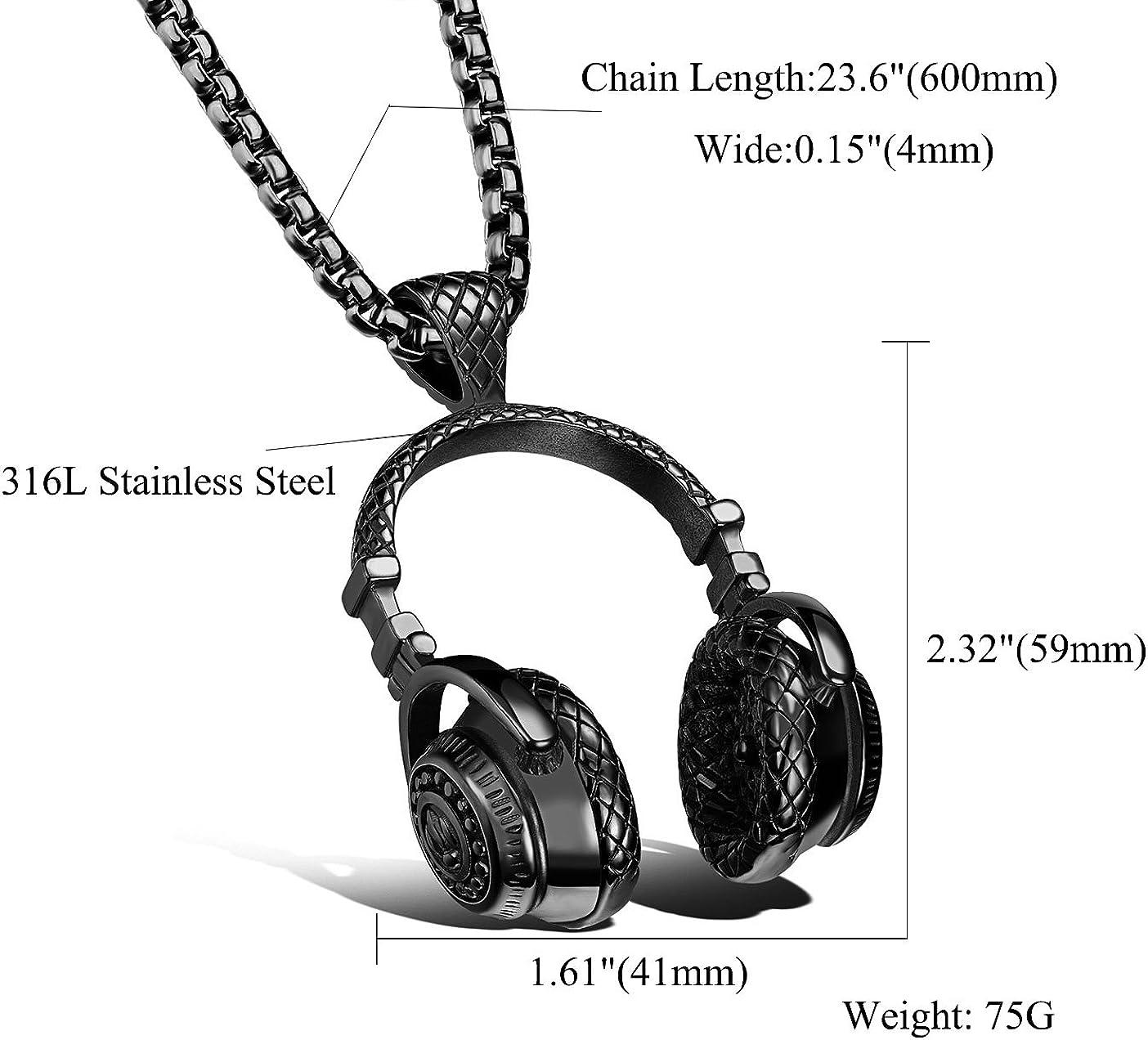 Head Phones Jewelry Headphones Necklace Silver Headset Music Gift for Sound Tech Best Friend BFF Hip Hop Rapper Rap Teenage Boy teen girl