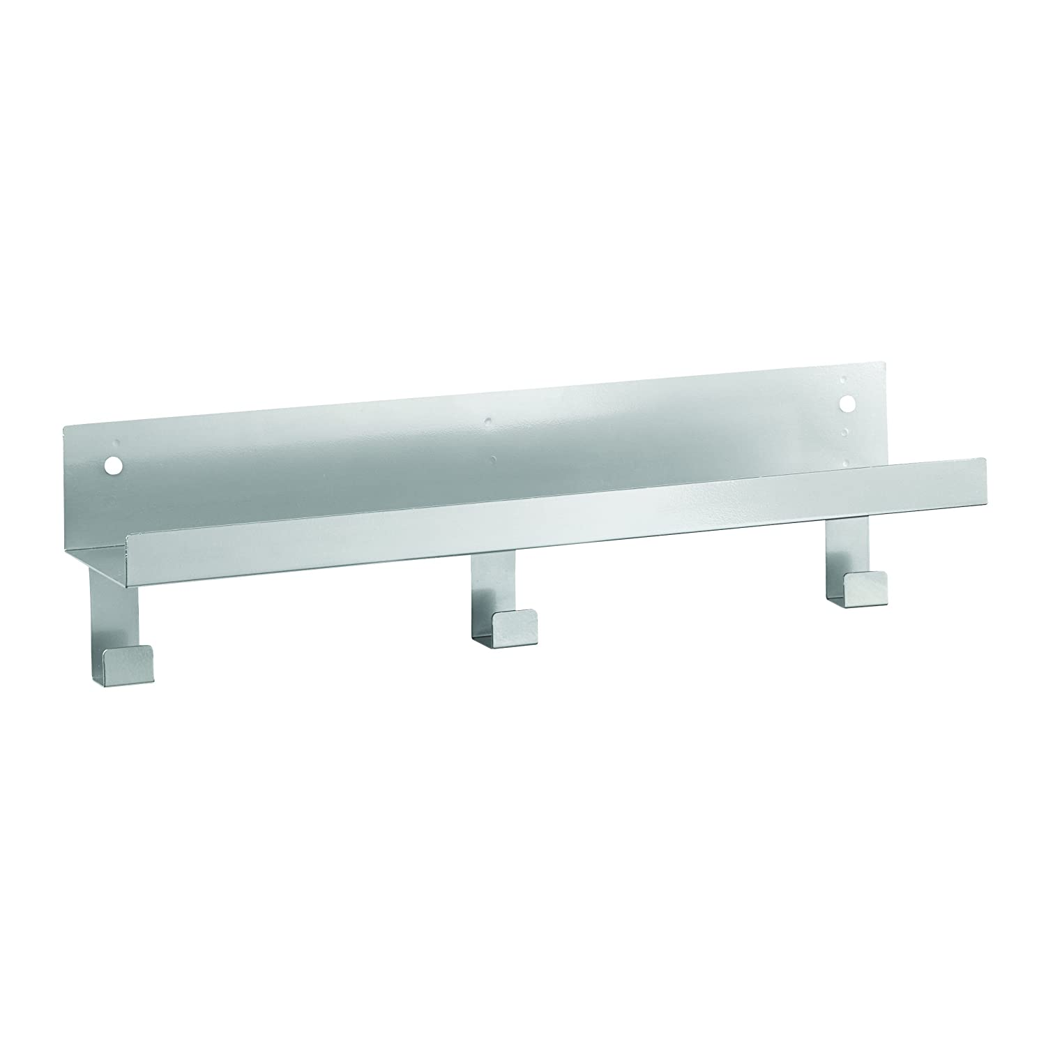 STEELMASTER Metal Display Shelf with Peg Hooks 5 x 18 x 4.5 Inches Silver 271118350