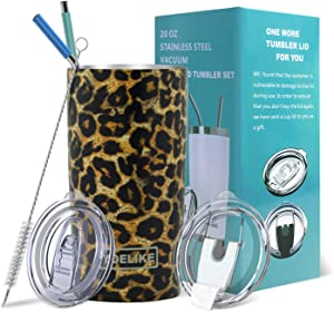 Yoelike Tumbler 20oz Stainless Steel Vacuum Insulated Travel Mug with Straw, Lid, Clean Brush, Double Wall Coffee Cup for Home, Office, Outdoor Great for Ice Drinks and Hot Beverage(Leopard, 20 oz)