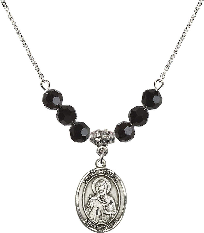 Bonyak Jewelry 18 Inch Rhodium Plated Necklace w// 6mm Jet Birth Month Stone Beads and Saint Marina Charm
