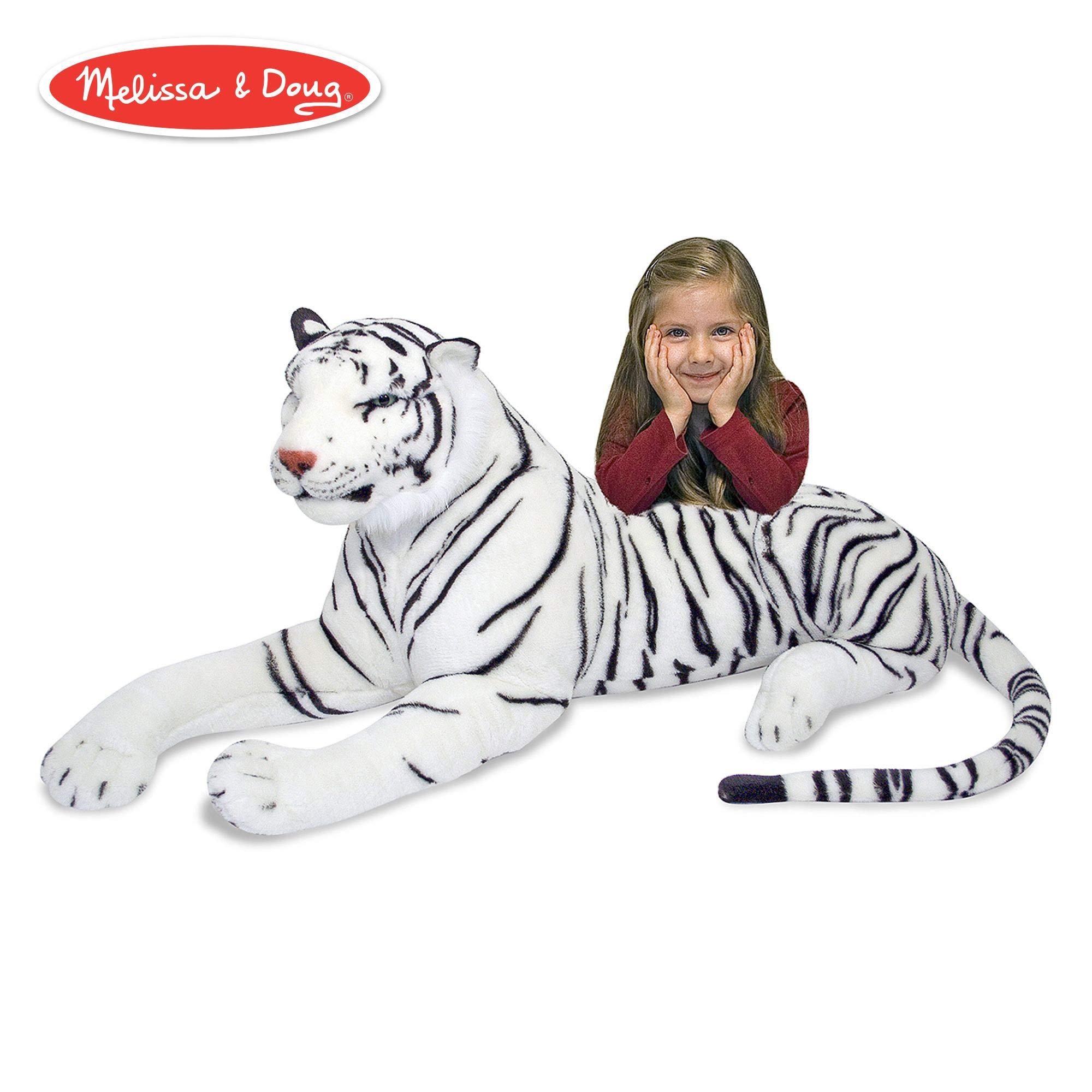 Melissa & Doug White Tiger Giant Stuffed Animal (Wildlife, Soft Fabric, Beautiful Tiger Markings, 20'' H x 65'' L x 20'' W) by Melissa & Doug