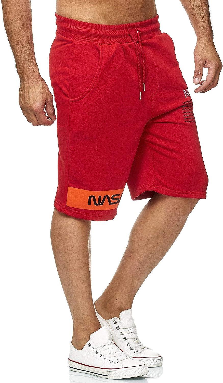 Pantaloni Corti da Uomo Bermuda Corti con Logo U.S Flag Logo NASA Red Bridge