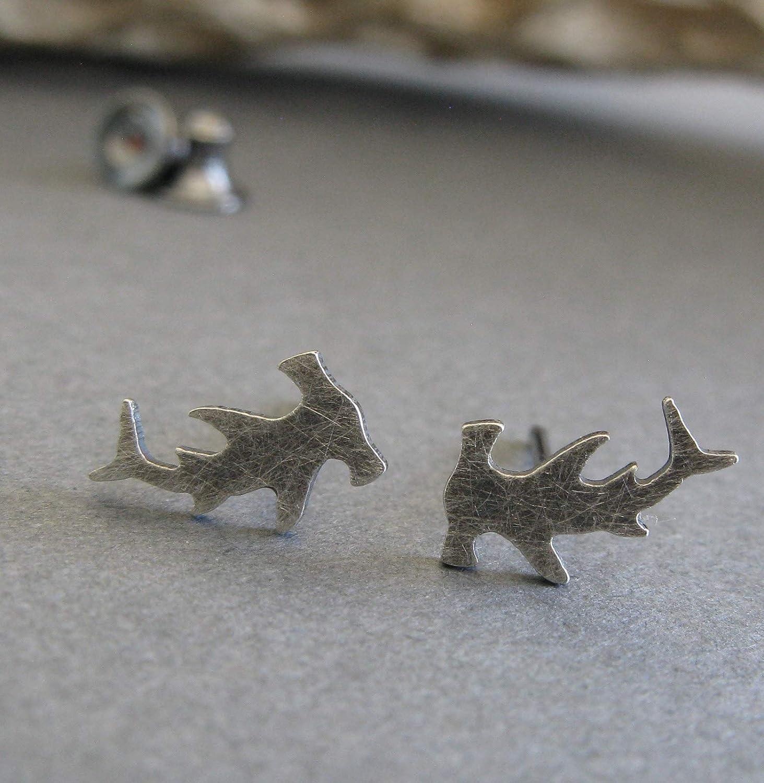 Hammerhead Shark stud earrings antiqued sterling silver post jewelry. Handmade in the USA