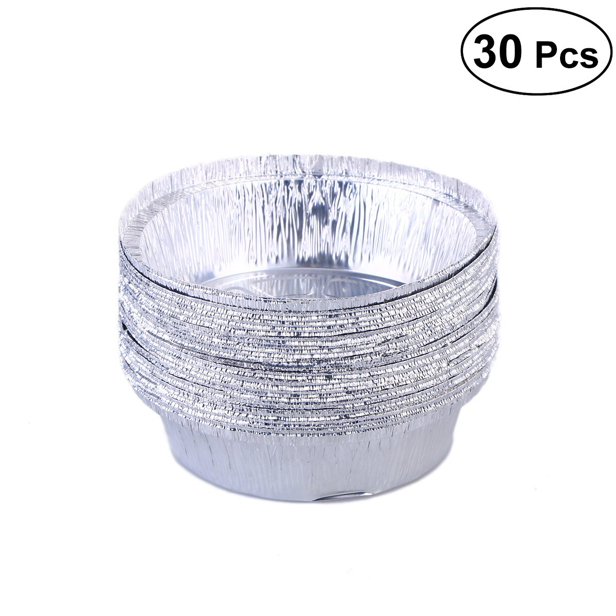BESTONZON 30pcs Aluminium Foil Food Containers Plate Round Disposable Barbecue Plate (No Lids)