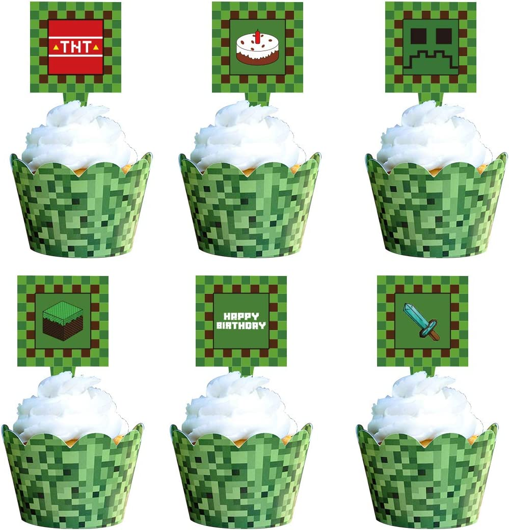 8 PCS Pixel Cupcake Toppers For Game Party Birthday Party Happy Birthday  Party Printable Cake Decoration Block Games Party Supplies