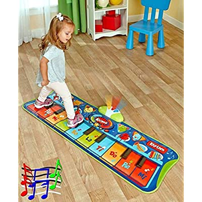 Fun Step-to-Play Junior Battery Operated Piano Mat with Flashing Lights and 20 Demo Songs for Kids Ages 2+: Toys & Games