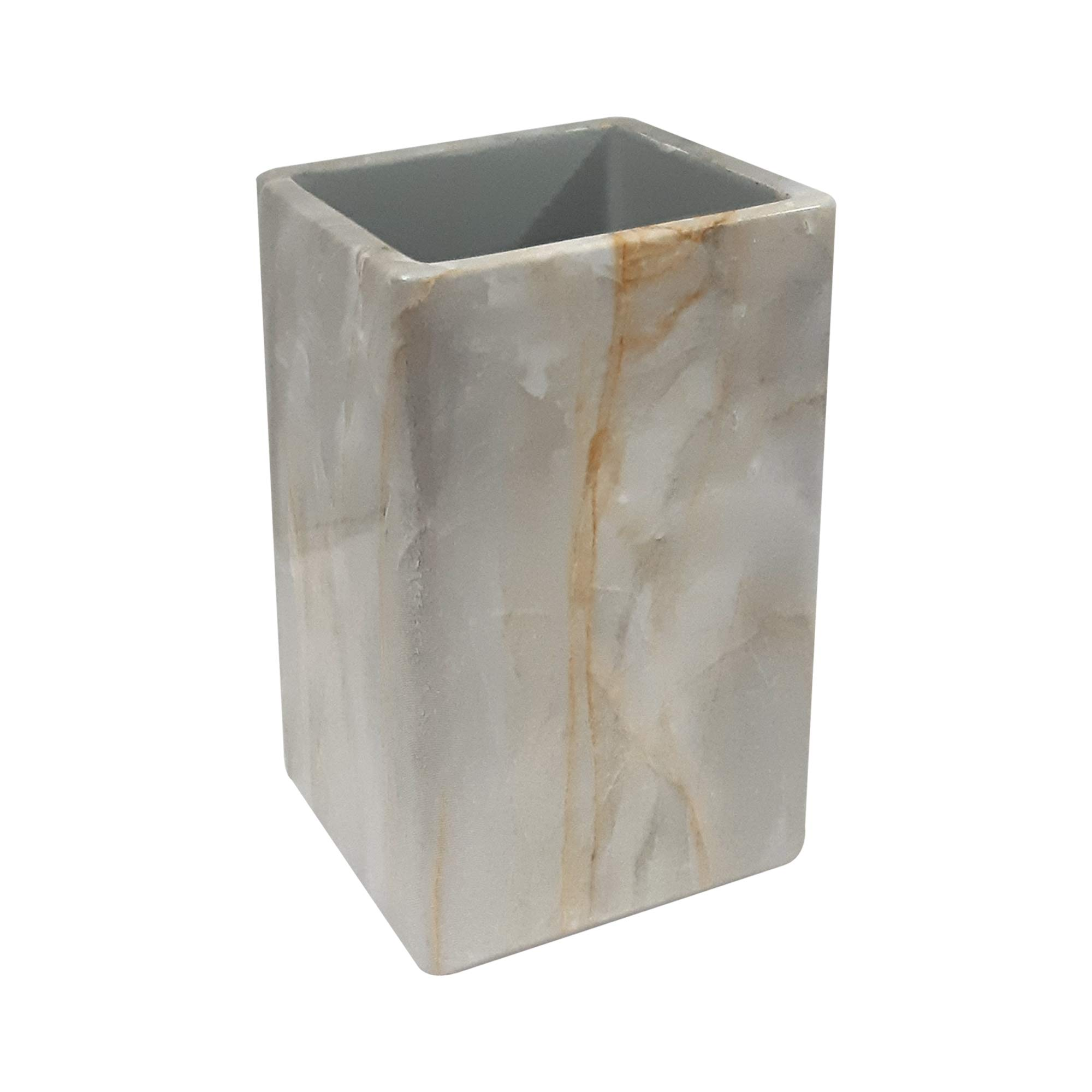 nu steel RES566-5H Stone-Hedge Collection Resin Decorative Makeup Brush Cup Holder Tumblers for Bathroom Countertops, Desk, Dorm, and Vanity, Marble Finish by nu steel