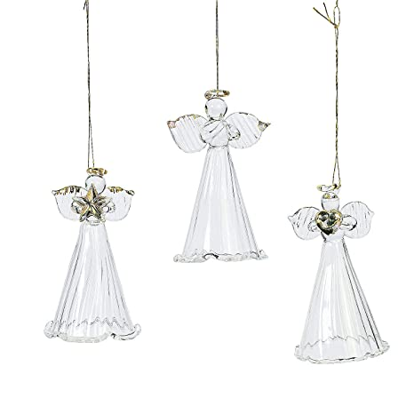 Angel Ornaments For Christmas Tree.One Dozen Spun Glass Angel Ornaments Christmas Tree Ornaments