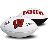 $199 » Jonathan Taylor Autographed Wisconsin Badgers Signed Full Size White Panel Logo Football ON WISCONSIN JSA COA
