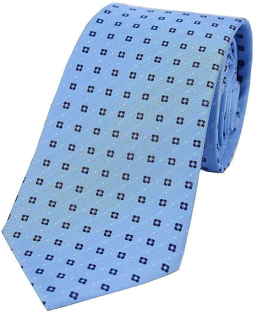 Light Blue//Navy David Van Hagen Mens Neat Box Pattern Silk Tie