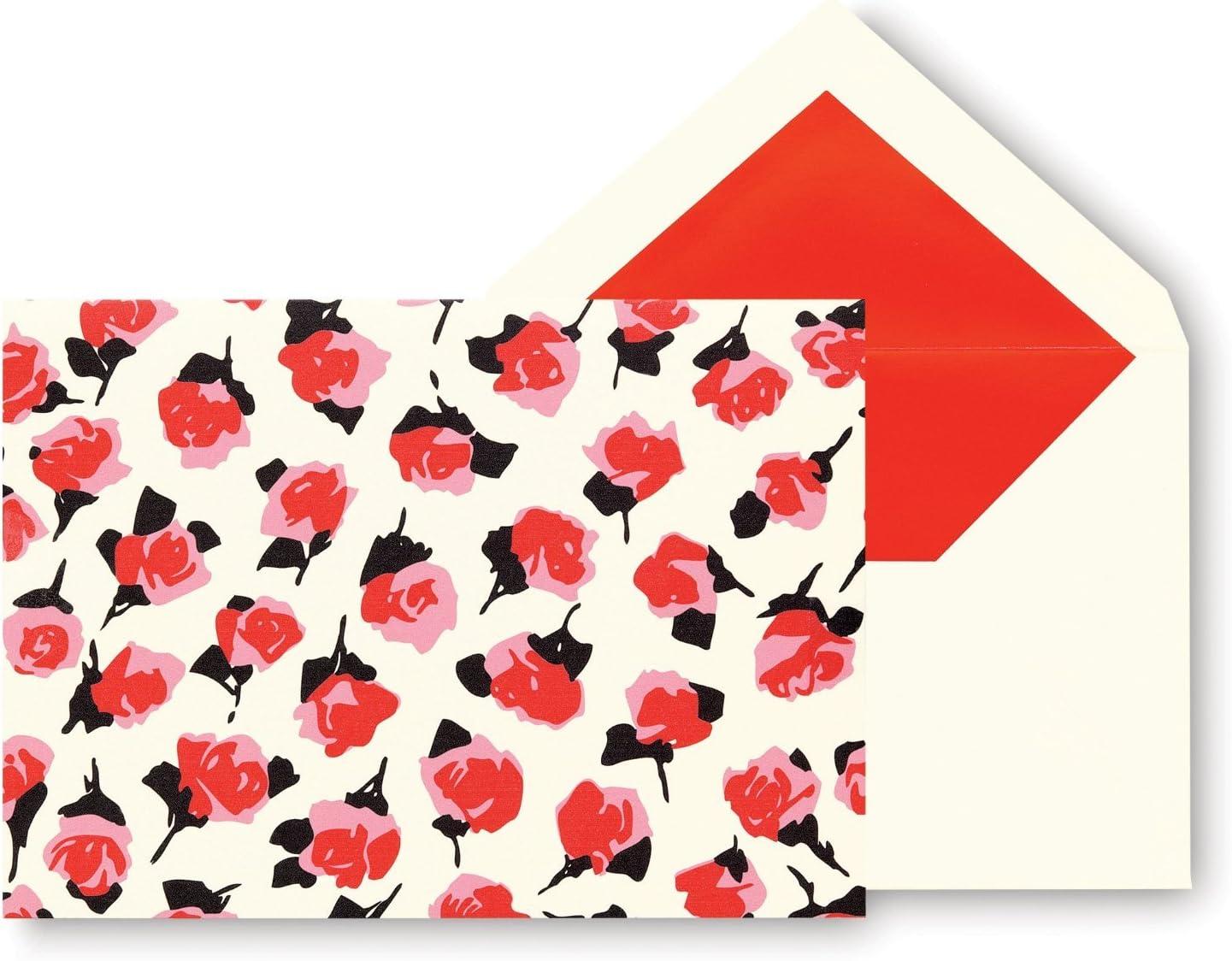 Kate Spade Note Cards Box Set 10 Blank Fashion Designer Thank You Rose Floral