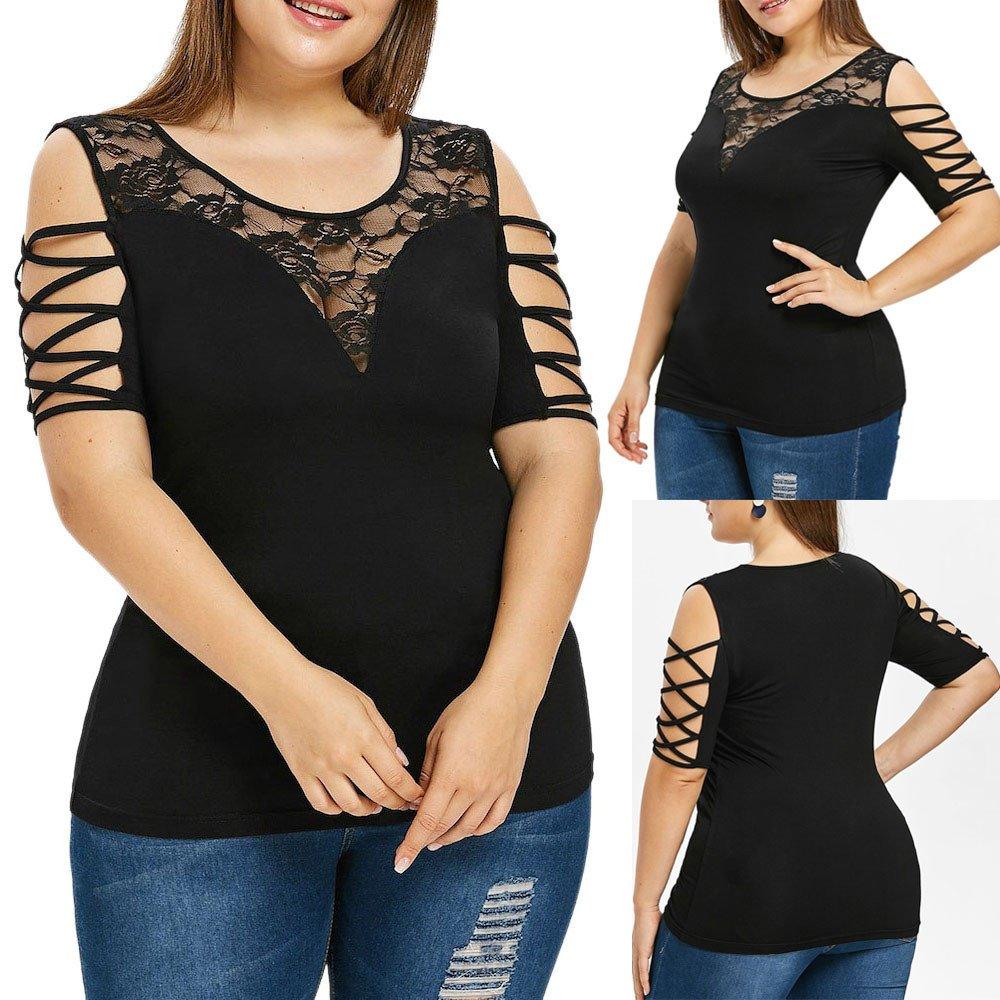 4c33b5ab9990b6 Aniywn Women Lace Short Sleeve Criss Cross Strapless Tops Slim Large Size  Sleeveless Tank Vest T Shirt at Amazon Women s Clothing store