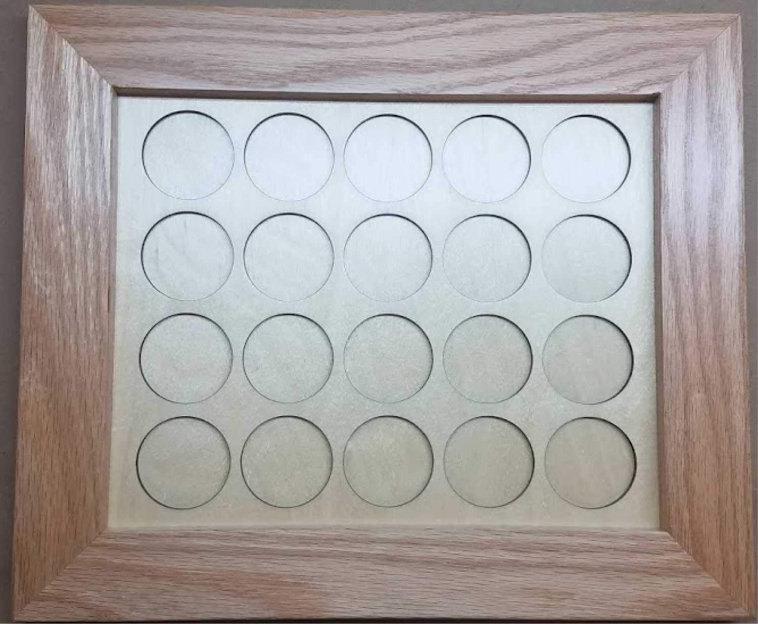 Natural Wood 8x10 All Chips Motorcycle Poker Chip Display Case with Oak Frame and Birch Mat