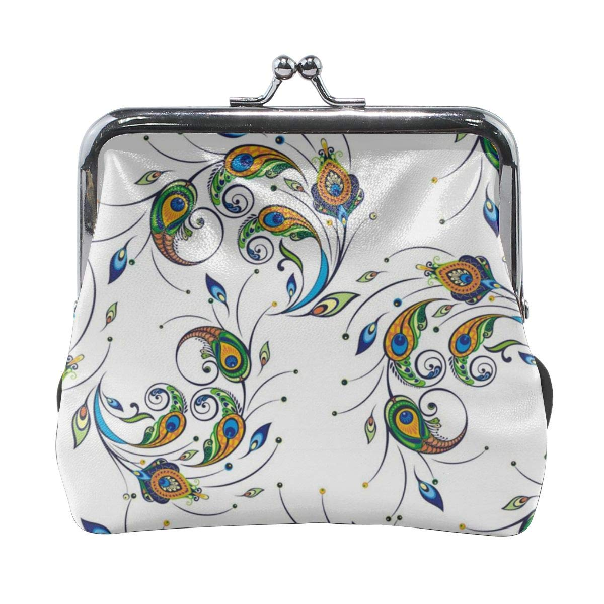 Yunshm Peacock Feathers Vector Image Customized Leather Classic Floral Coin Purse Clutch Pouch Wallet For Womens