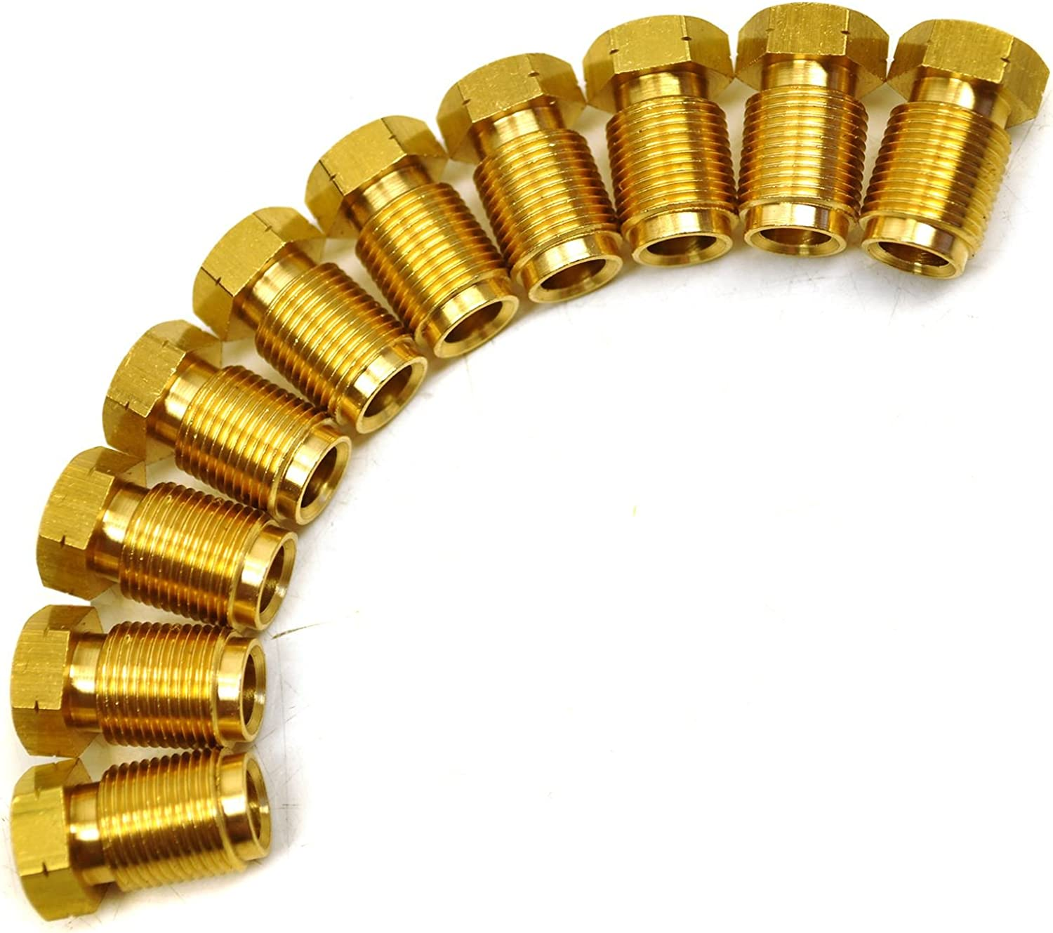 """Brass Brake Pipe Fittings M12 x 1mm Male 10 PACK for 1//4/"""" Pipe FL22"""
