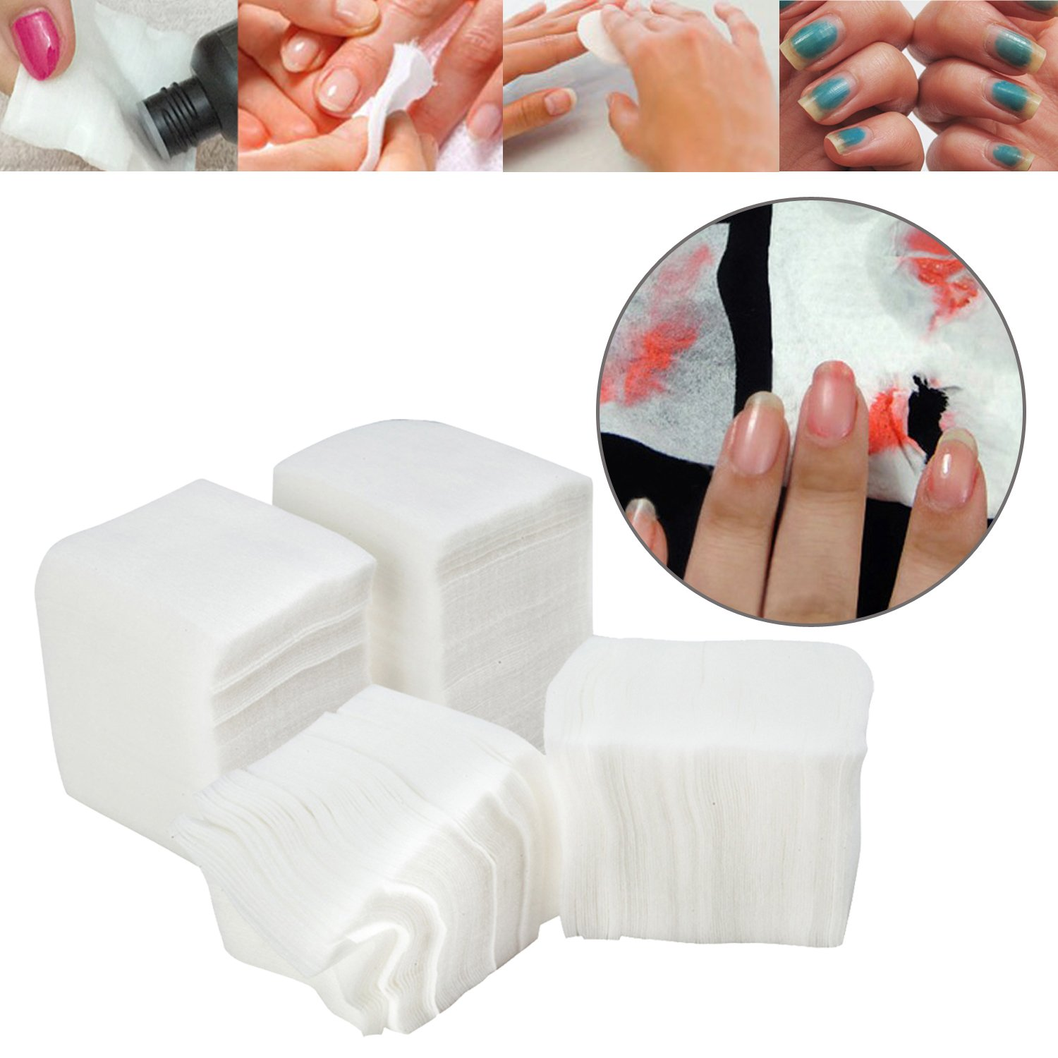 High Quality Set Kit With 3 Packs of 400pcs Each Professional Manicure Pedicure Make Up Soft Lint Free White Cotton Pads By VAGA©