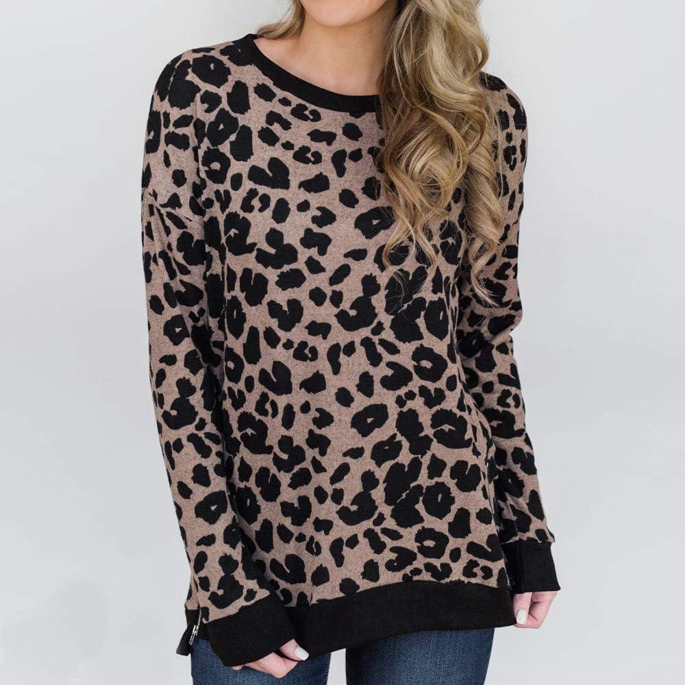 Luckycat Moda para Mujer Algodón Estampado de Leopardo Camiseta ...