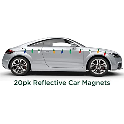 JUST BRIGHT Car Magnet Christmas Car Decorations, 20 Pk – Light Bulb Shaped Festive Reflective Automotive Magnets – Decorate Your Car, Home and Any Metal Surface for Christmas – Assorted Colors: Automotive